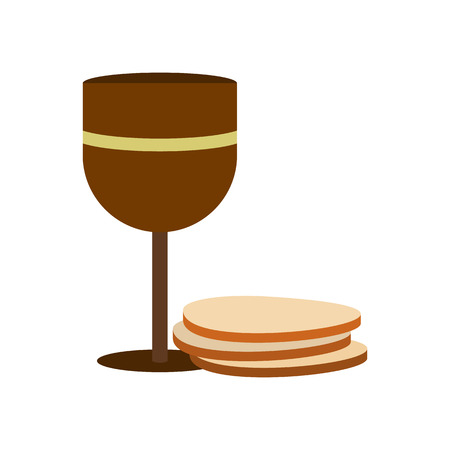 chalice: Chalice of wine and wafers icon in flat style isolated on white background Illustration
