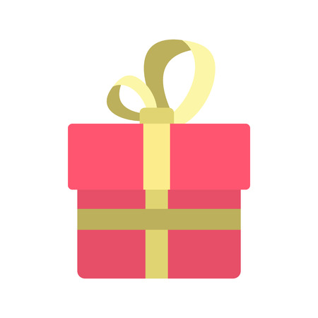 colden: Pink gift box with a colden ribbon icon in flat style isolated on white background