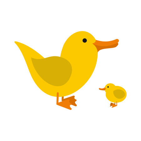 Yellow ducklings icon in flat style isolated on white background