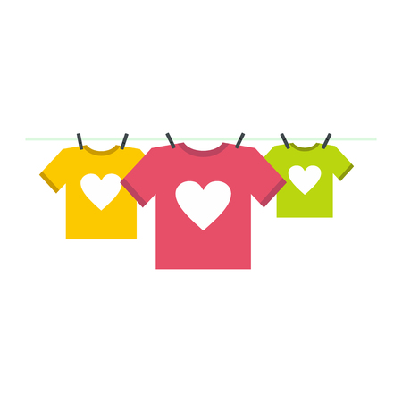 t shirt model: T-shirts with heart icon in flat style isolated on white background