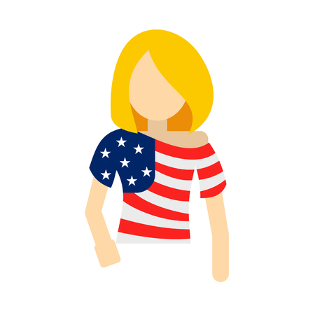 patriots: Girl in USA flag colors t-shirt icon in flat style isolated on white background