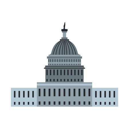capitol hill: White House in Washington DC icon in flat style isolated on white background