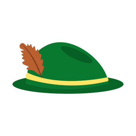 hat with feather: Green hat with a feather icon in flat style isolated on white background