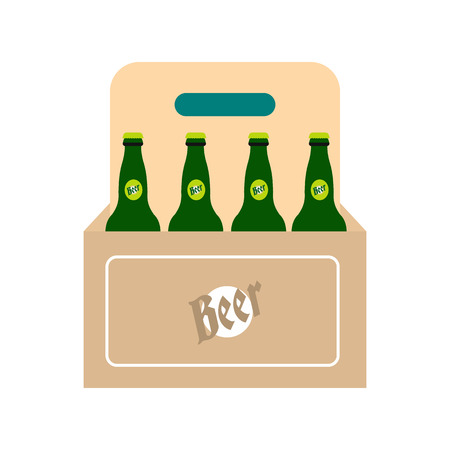 pack ice: Packaging with beer icon in flat style isolated on white background