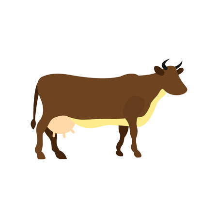 dairy cows: Brown cow icon in flat style isolated on white background