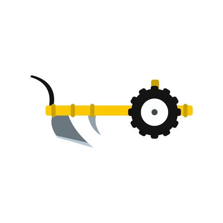 labranza: Plough icono de estilo plano aislado en el fondo blanco