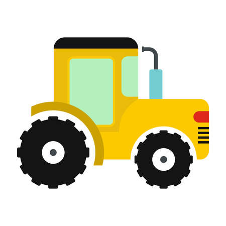 tillage: Yellow tractor icon in flat style isolated on white background Illustration