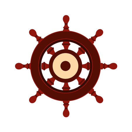 ship wheel: Wooden ship wheel icon in flat style isolated on white background