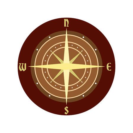 brujula antigua: Un icono de br�jula antigua en estilo plano aislado en el fondo blanco