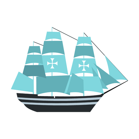 christopher: Columbus ship icon in flat style isolated on white background