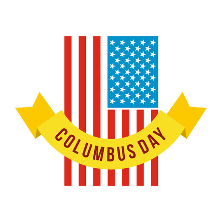 christopher: American flag with Columbus Day ribbon icon in flat style isolated on white background Illustration