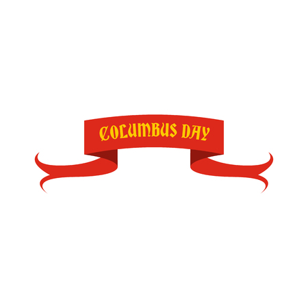christopher columbus: Columbus Day ribbon icon in flat style isolated on white background