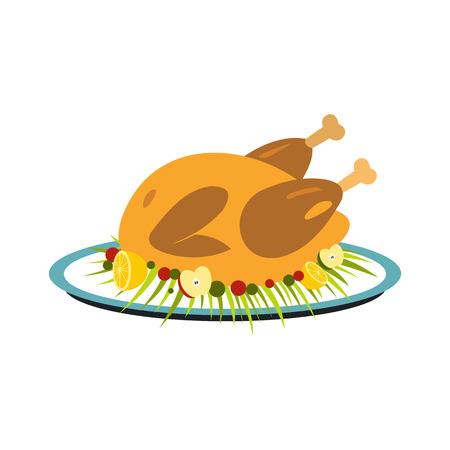 roasted turkey: Roasted turkey icon in flat style isolated on white background