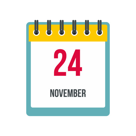 ring stand: Calendar november 24 icon in flat style isolated on white background Illustration