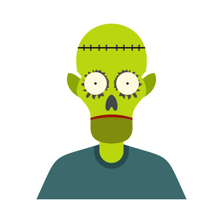 cranial skeleton: Zombie icon in flat style isolated on white background Illustration