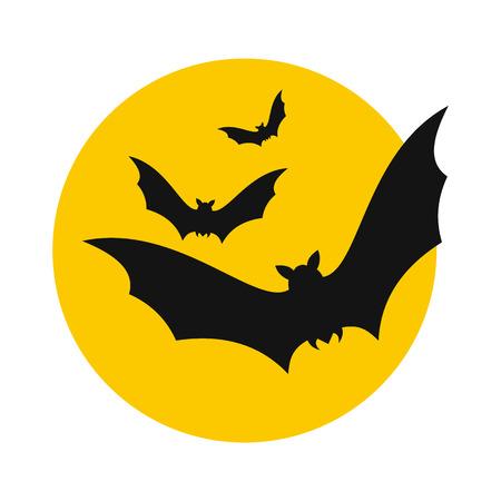 I pipistrelli volano per l'icona di luna in stile piatto isolato su sfondo bianco Vettoriali