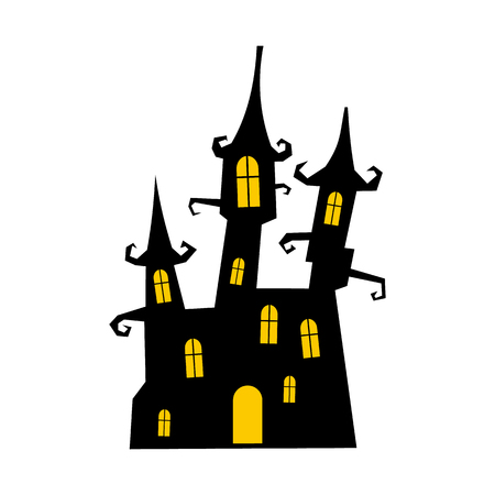 hallowen: Dream castle icon in flat style isolated on white background