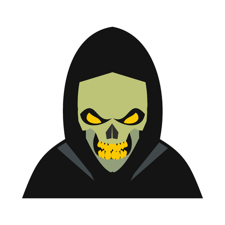 hallowen: Skeleton icon in flat style isolated on white background