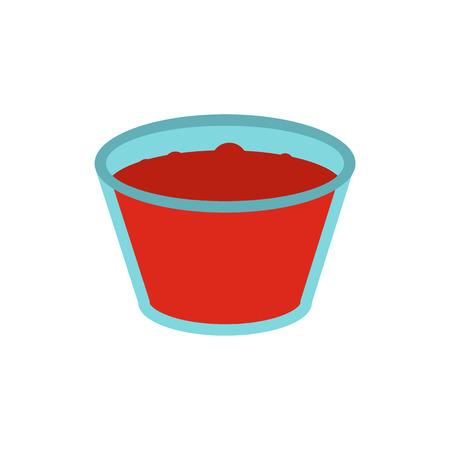fiambres: Vaso de jugo de manzana roja icono de estilo plano aislado en el fondo blanco