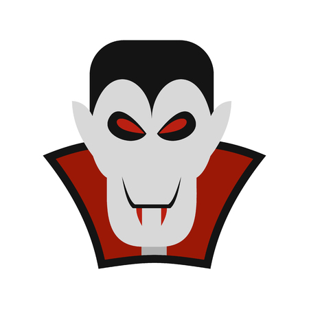 Vampire dracula icon in flat style isolated on white background