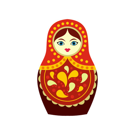 babushka: Russian matryoshka icon in flat style isolated on white background Illustration