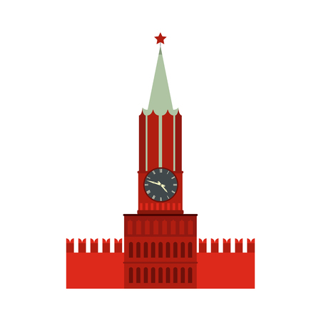 spasskaya: Spasskaya tower of Moscow Kremlin icon in flat style isolated on white background