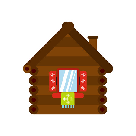 peasant household: Wooden house icon in flat style isolated on white background Illustration