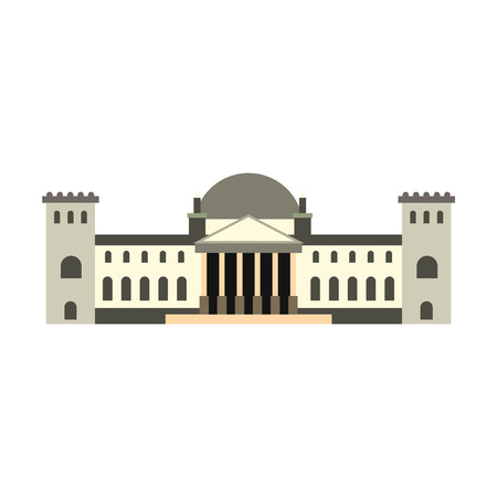 houses of parliament: German Reichstag building icon in flat style isolated on white background Illustration