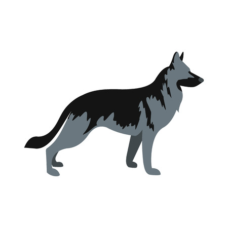 German Shepherd dog icon in flat style isolated on white background