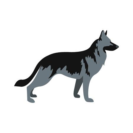 Icono alemán del perro pastor de estilo plano aislado en el fondo blanco