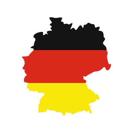 bandera alemania: Mapa de Alemania con la bandera de la Rep�blica Federal de Alemania en el icono de estilo plano aislado en el fondo blanco Vectores