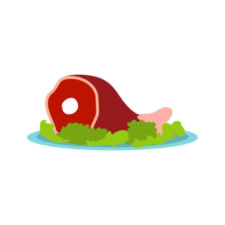 roast pork: Roast pork knuckle icon in flat style isolated on white background