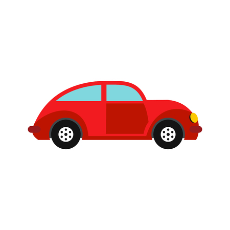 vw: Car vintage car icon in flat style isolated on white background
