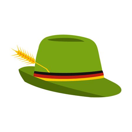 trachten: Green hat with a feather icon in flat style isolated on white background