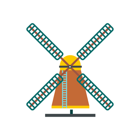 farmstead: Windmill icon in flat style isolated on white background