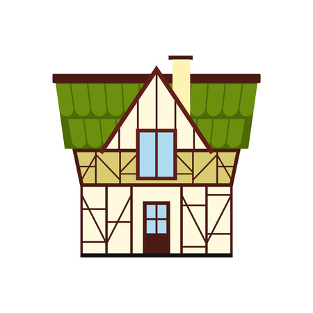 timbered: Half timbered house in Germany icon in flat style isolated on white background Illustration