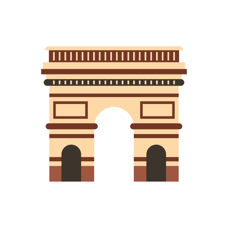 triumphal: Triumphal arch, Paris icon in flat style isolated on white background