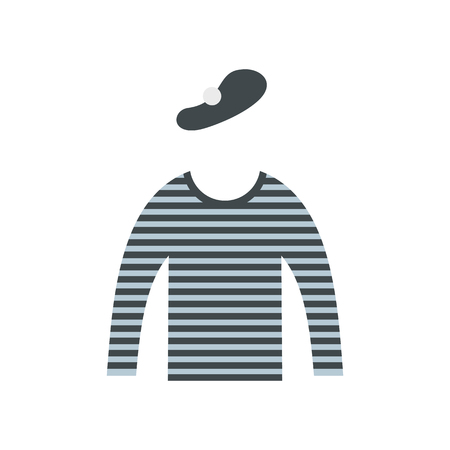 mime: Mime costume icon in flat style isolated on white background Illustration