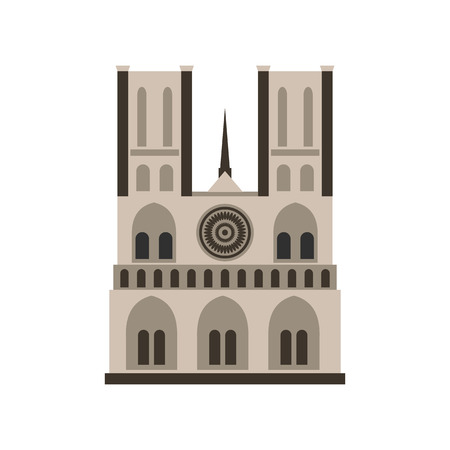 dame: Norte Dame Cathedral, Paris icon in flat style isolated on white background