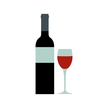taster: Red wine bottle icon in flat style isolated on white background Illustration