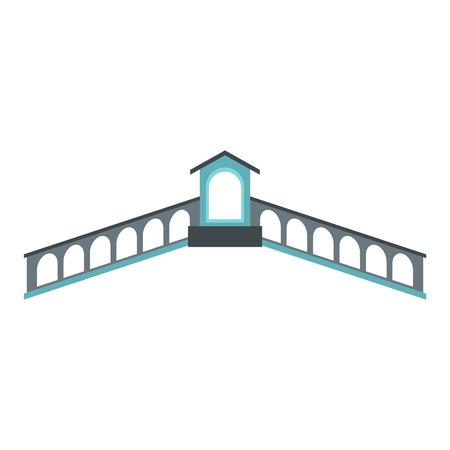 rialto: Rialto Bridge, Venice icon in flat style isolated on white background