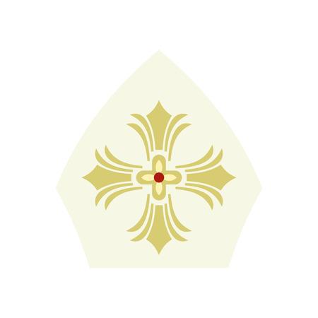 Pauselijke tiara, hoed met kruisje in vlakke stijl op een witte achtergrond Vector Illustratie
