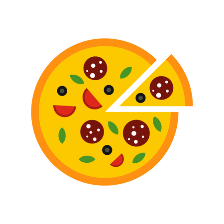 melted cheese: Pizza icon in flat style isolated on white background Illustration