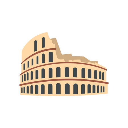 colosseum: Roman Colosseum icon in flat style isolated on white background