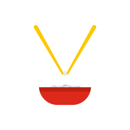 cooked rice: Bowl of rice with pair of chopsticks icon in flat style isolated on white background