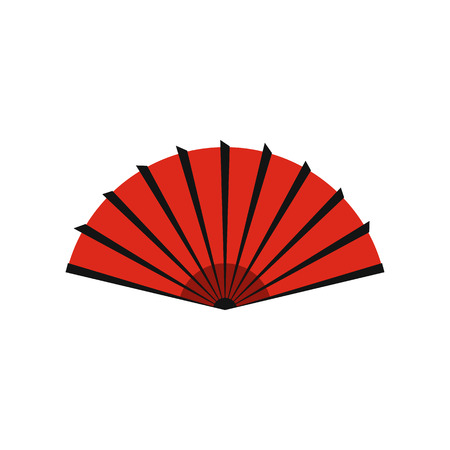 red  open: Red open hand fan icon in flat style isolated on white background