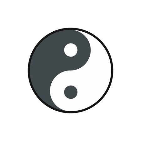 yang style: Ying yang icon in flat style isolated on white background