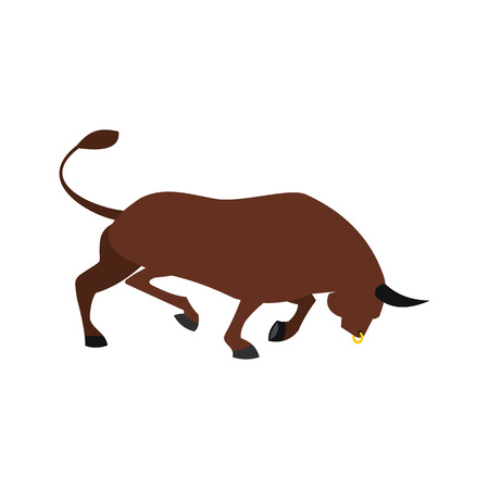 arena rodeo: Brown bull icon in flat style isolated on white background