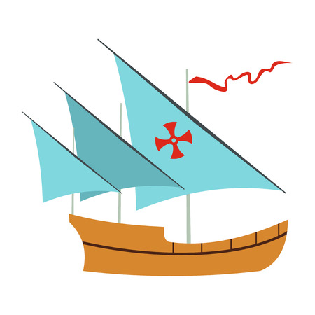christopher columbus: Santa Maria sailing ship icon in flat style isolated on white background