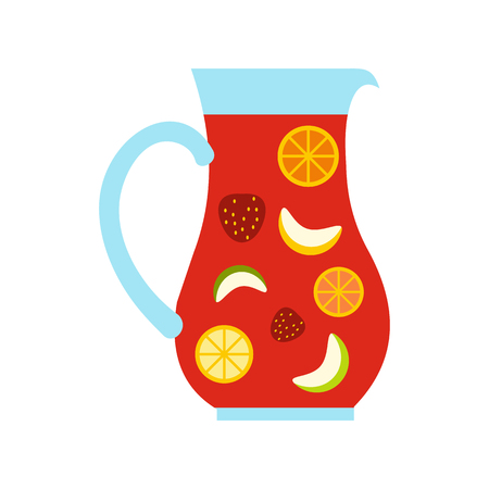 sangria: Jar and glass of fresh sangria icon in flat style isolated on white background